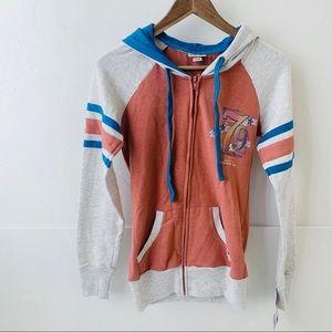 NWT Mossimo full zip hoodie 1979 gray orange XS
